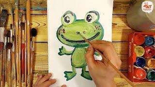 Как нарисовать ЛЯГУШКУ красками / урок рисования для детей