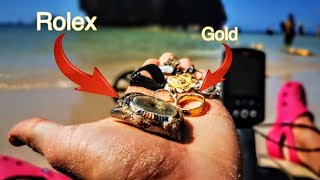 Found ROLEX and GOLD underwater metal detecting with Minelab Equinox 800 - treasure hunting Thailand