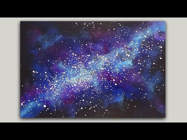 Sponge Painting A Galaxy With Acrylic Paint Youtube