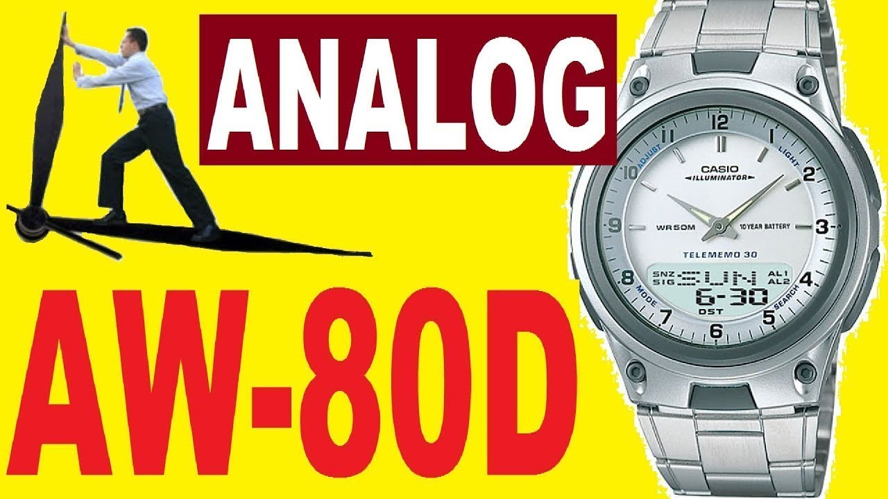 Setting Casio AW-80D analog time manual 2747 - YouTube 82b3eae8085