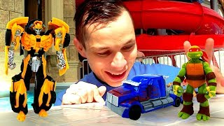 Игры для детей в Аквапарке – Фёдор, Трансформеры и Черепашки Ниндзя!