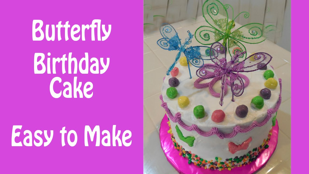 How to Make a Colorful Butterfly Birthday Cake YouTube