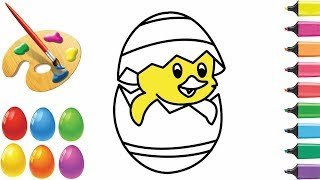 s by s | how to draw and coloring cute chicken eggs hatch for children and kids, bazlin art