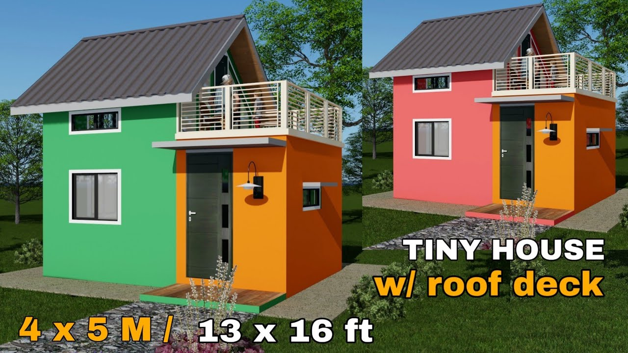 Tiny House Design With Attic 4 X 5 M 13x16ft Youtube