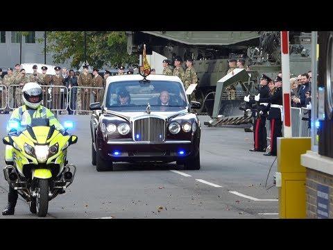 Queens Motorcade, Escort and Helicopter Leaving Brompton Barracks, Kent, UK