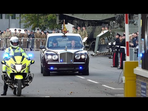 *SPECIAL* - Queens Motorcade, Escort and Helicopter Leaving Brompton Barracks, Kent, UK