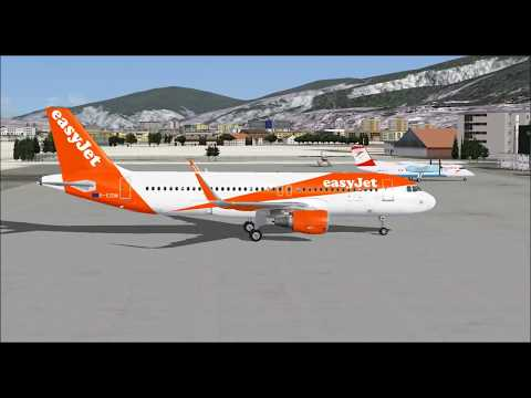 AIRBUS A320 214 SHARKLETS EASYJET TAKE OFF FROM INNSBRUCK AIRPORT FS9 HD