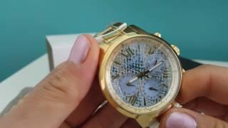 Review Ladies Guess W0330L13 Gold Strap Blue Chrono Dial