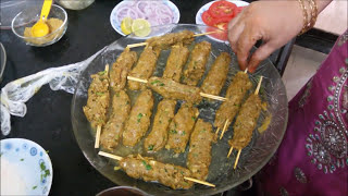 Mutton Seekh Kebab in Microwave without use of Tandoor/ Barbeque - English Subtitles
