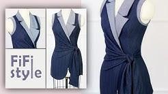 FiFi Style : Thiết kế áo cổ Danton bất đối xứng-thắt nơ eo