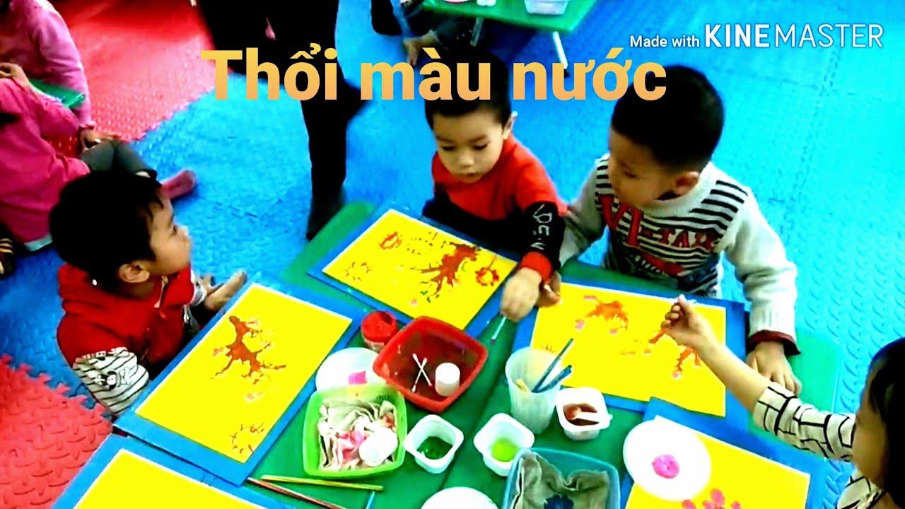 Tạo hình mầm non   Thổi màu cành hoa đào   tạo hình cho bé 4 tuổi