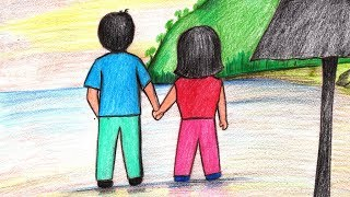 How to Draw a Couple Holding Hands on Beach - Step by Step