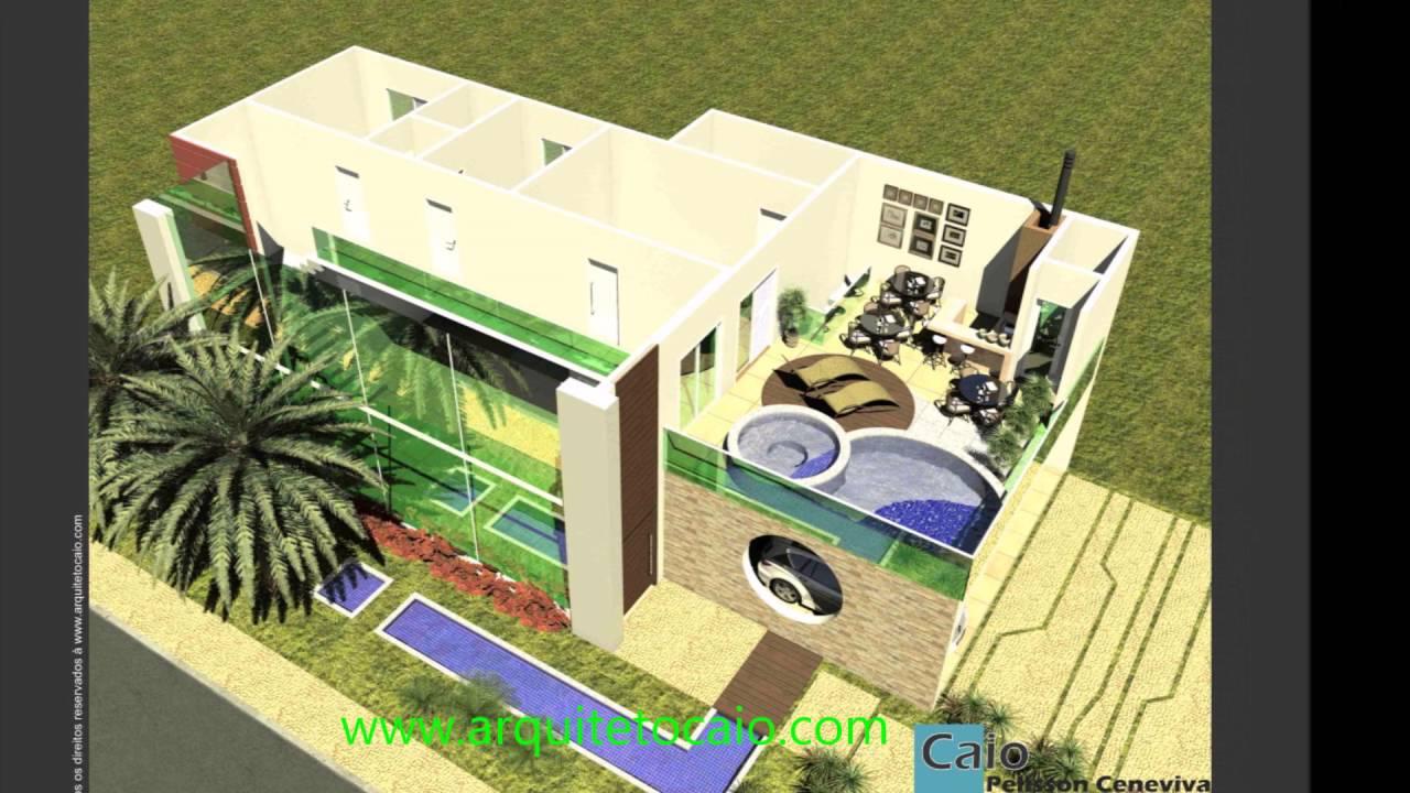 Projeto casa sobrado moderna vidro piscina segundo piso for Modelos de casa para segundo piso