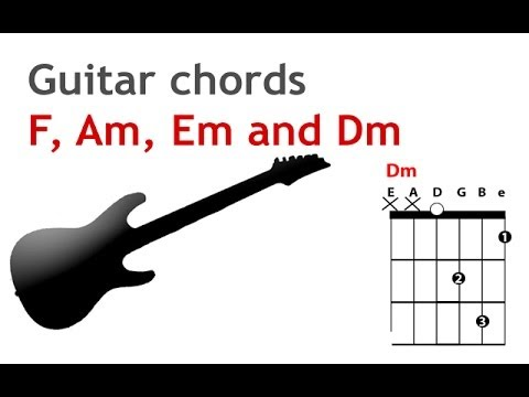 How to play the Dm, Am, Em and F chords on the guitar - beginner ...
