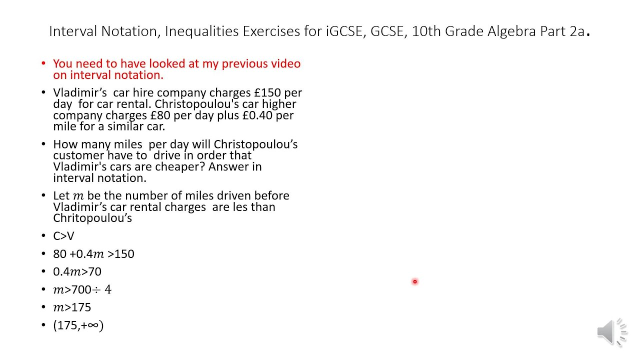 Interval Notation Inequalities Exercises For Igcse Gcse 10th Grade Algebra Part 2