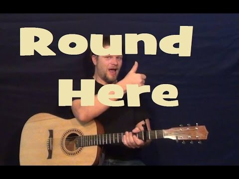 Round Here (Counting Crows) Easy Guitar Lesson How to Play Strum Chords Licks Tutorial