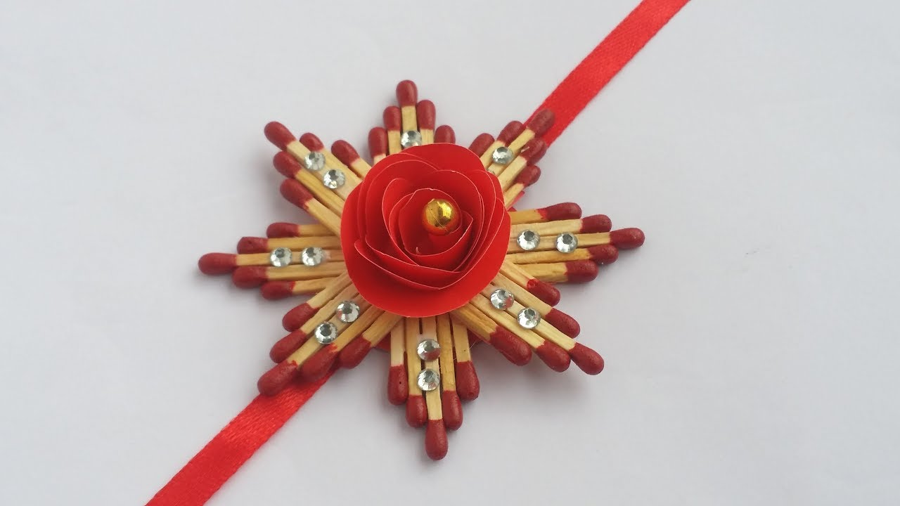 DIY: Easy Rakhi Dasign!!! How to Make Beautiful Rakhi / Raksha bandhan with Match Stick!!! - YouTube