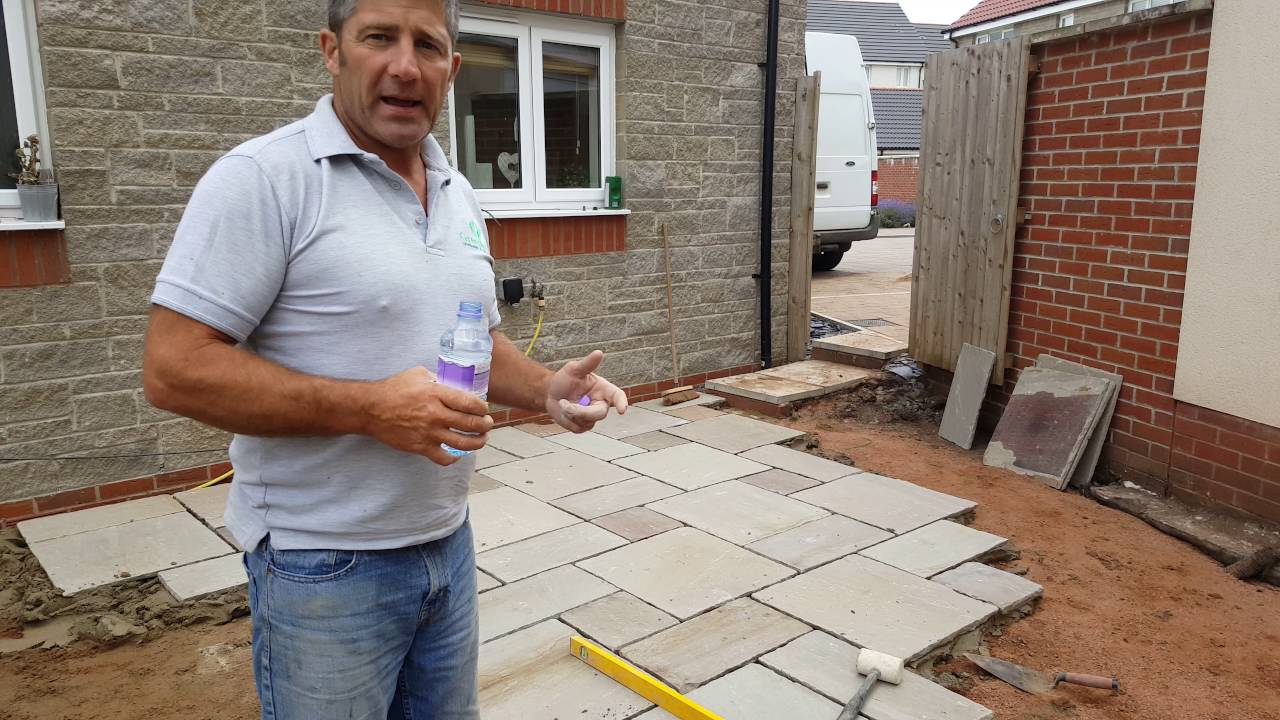 Laying Indian Sandstone Paving - YouTube