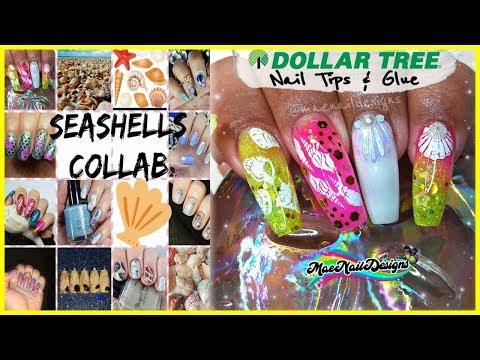 SEASHELLS Collab 🐚 Dollar Tree Nail Tips | #StampingNails | #MAENAILDESIGNS