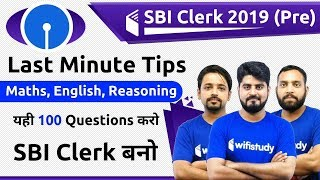 SBI Clerk Pre 2019 | Maths, English, Reasoning by AVP | Expected 100 Questions