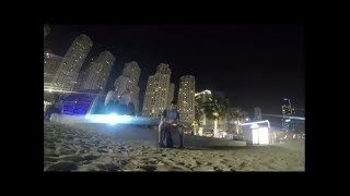 Dubai Marina Beach front  at night April 2016