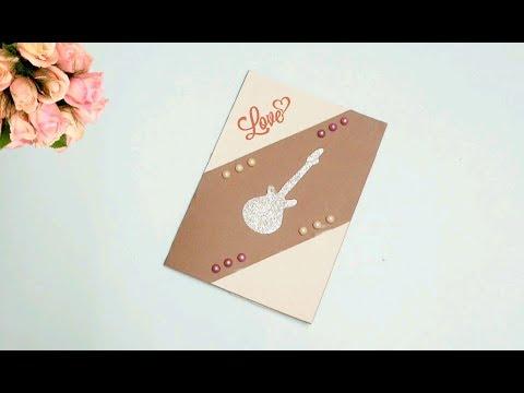 Easy Greeting card ideas / handmade greeting card / guitar greeting card / DIY greeting card