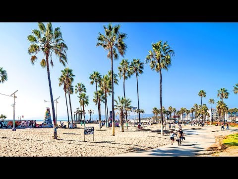 [Full HD] Walking from Venice Beach Boardwalk to Santa Monica Pier in Los Angeles, California