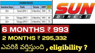 SUN DIRECT | OFFERS | inactive Customers offers | Telugu dpo 1 ₹ 993 | eligibility chek | ₹ 295,332