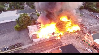 Dramatic drone video shows huge downtown Sun Prairie fire resulting from gas explosion