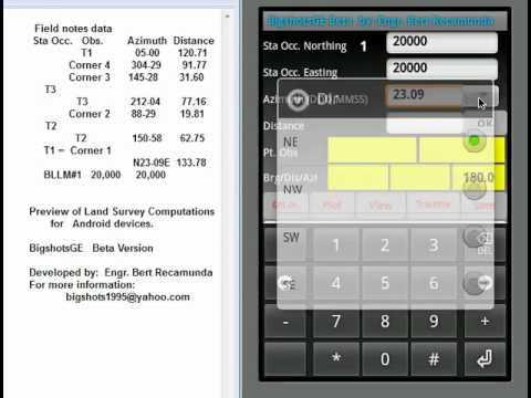 BigshotsGE:  Land Survey Computation using Android Phone or TabletPC