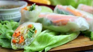 Rollitos vietnamitas vegetales con salsa oriental (con papel de arroz) 🌯