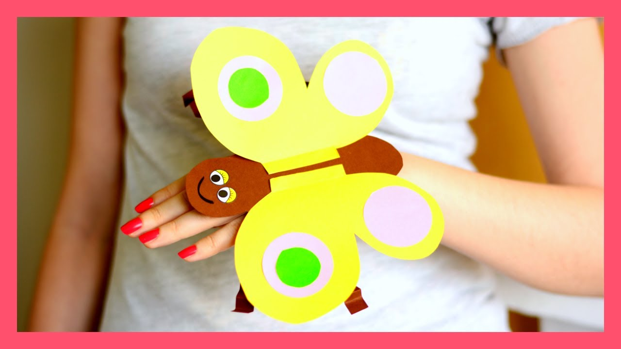 Paper Butterfly Hand Puppet Craft Template Paper Crafts