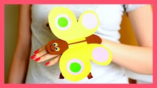 Paper Butterfly Hand Puppet Craft Template - paper crafts for kids