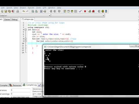C++ program : X shape using Nested For Loops