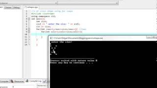 C++ program : X shape using Nested For Loops