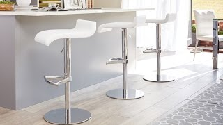 Faux Leather and Chrome Gas Lift Breakfast Barstool