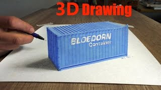 Drawing a Bloedorn container in 3D (speed painting) Optical Illuision/ dibujar bien paso a paso