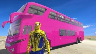 Spiderman & Wheels On The Bus Colors Disney Cars Fun Superheroes w Nuresy Rhymes for Kids