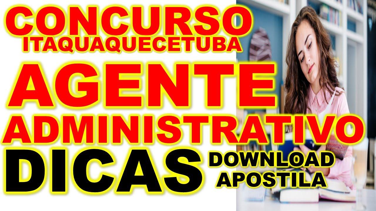 Concurso Itaquaquecetuba SP 2020 50 vagas para Agente Administrativo COMO PASSAR DOWNLOAD APOSTILA