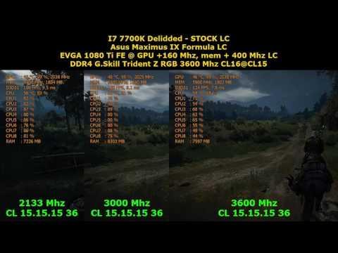 Test DDR4 2133 vs 3000 vs 3600 CL 15, I7 7700K Stock, 1080Ti OC