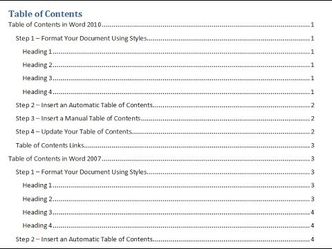 Create a Table of Contents in a Word Document - YouTube