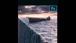 3D Ocean effect in Adobe Photoshop perspective  bending manipulation