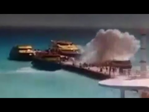 2 Tomas de la Explosion Ferry Barcos Caribe en Playa del Carmen MEXICO (Accidente o Atentado ?