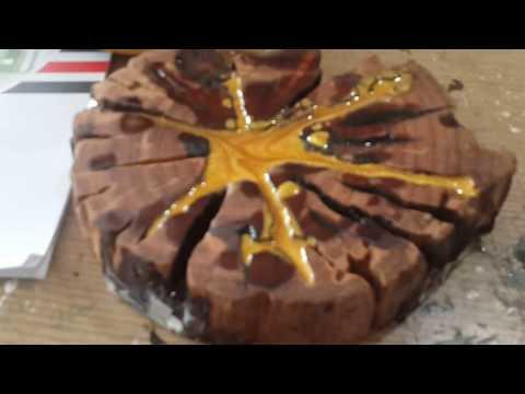 DIY Epoxy resin and wood - Cách pha nhựa epoxy resin với bột vàng ánh kim