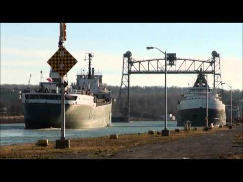 Horn Salute from Ships MANITOBA & CUYAHOGA on Welland Canal