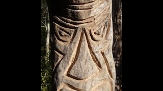Tiki Totem Carving with Chainsaw