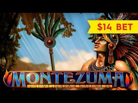 Montezuma Slot - NICE RETRIGGER BONUS - $14 Max Bet! - 동영상