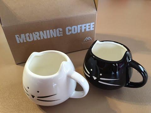 Black & White Cat Coffee Ceramic Mugs By FEGIR