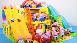 Peppa Pig Lego House Toys For Kids - Lego House With Water Slide Creations Toys