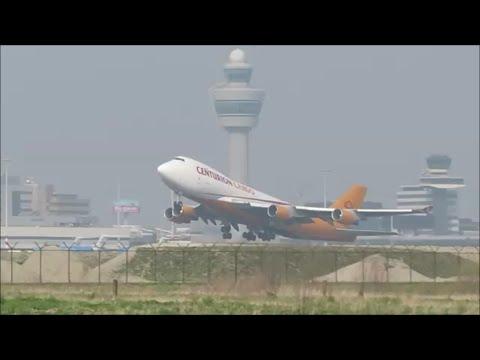 Centurion cargo Boeing 747 400F takeoff at Amsterdam Schiphol